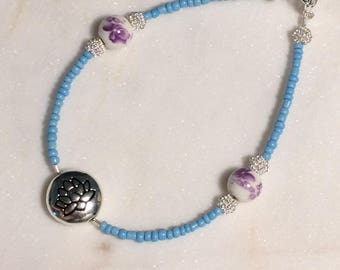 Petals Sterling Silver Bracelet with Glass & Ceramic Beads