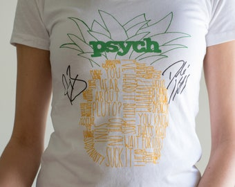 Psych Pineapple T-Shirt, Original Hand Lettered Design || Women's & Men's Styles Available