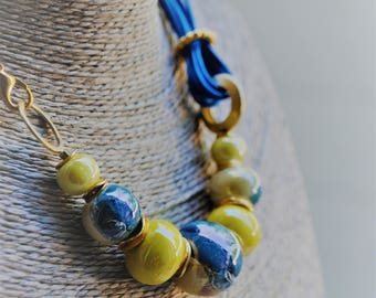 Necklace with blue and yellow ceramic, handmade
