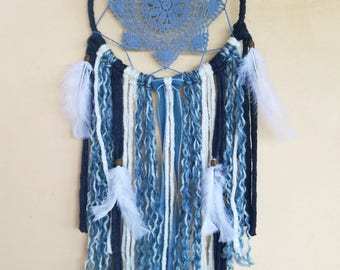 Dreamcatcher Boho Crochet Blue medium Jeans for hanging