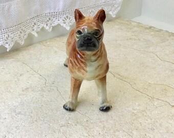 Vintage Ceramic Boxer Dog Figurine, Collectible Animal Model