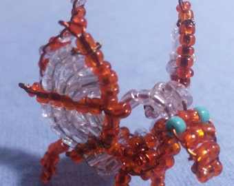 Tiny Orange Beaded Dragon