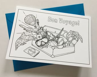 BON VOYAGE - colour your own greetings card