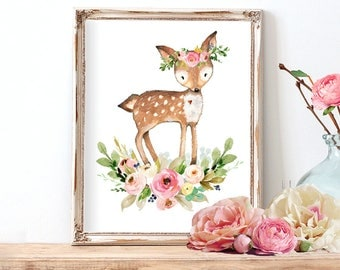 Deer Nursery Art, Deer Nursery Decor, Woodland Nursery Art, Woodland Deer Print, Girls Nursery Art Pink and Blush, Instant Download