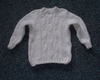 Child White Cable Sweater