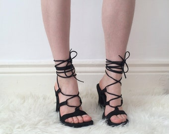 Black satin feel, late 90's strappy heels