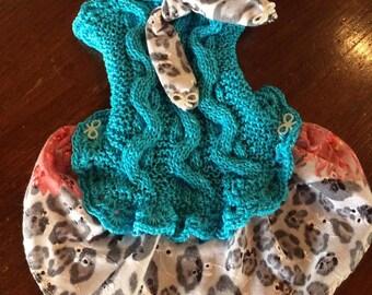 dress, cotton, blue, Leopard print,
