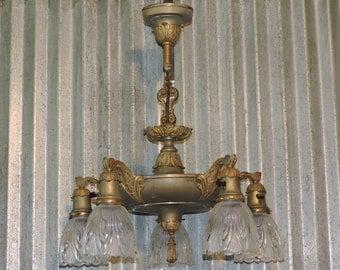 Antique ART NOUVEAU 5 Light Pan Ceiling Mount LIGHT Fixture