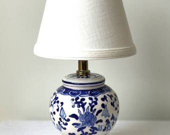 Vintage Petite Blue and White Lamp