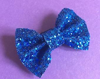 Blue glitter dog bow