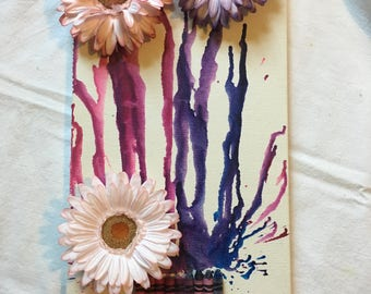 Melted Crayon and Flower Wall Hanging