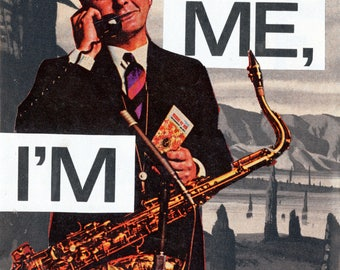 Paper Collage Print | (Help Me, I'm Alone) | Wall Art