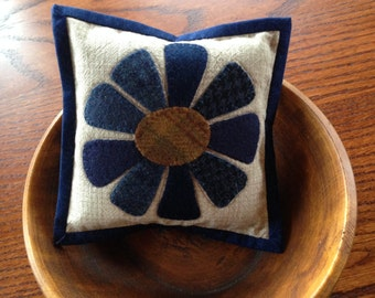kit; beautiful blue wool flower pincushion, bowl filler