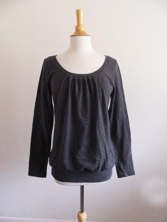 Charcoal grey shirt Long Sleeve blouse women's cotton Shirt loose fit top Bubble hem pleated neckline heather grey tshirt