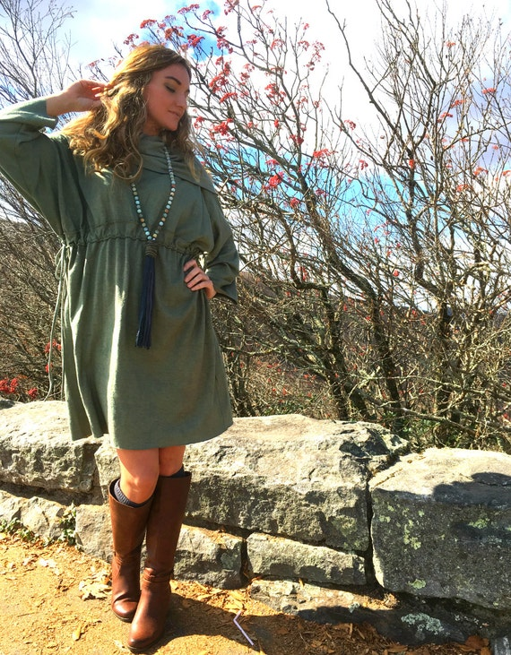 Indian Summer with Cowl Knee Length, Long Sleeved dress in organic hemp jersey. Made to order. Organic Hemp Clothing. Eco Friendly.