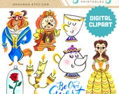 BEAUTY and the BEAST Digital Clipart Instant Download Illustration Watercolor Clip Art Collage Artwork Disney Princess Lumiere Belle