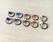 Set of 10 stitch markers in Island Volcano