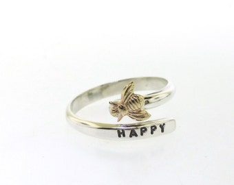 Bee Ring, adjustable hand stamped wrap ring, silver ring with brass bee by Kathryn Riechert