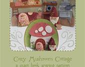 Cozy Mushroom Cottage felt quiet book PDF sewing pattern felt craft