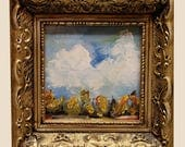 Small Landscape Painting, Ornate Frame, Rescue Frame, Original Art, Original Painting, Winjimir, Home Decor, Office, Gift, Sky and Trees