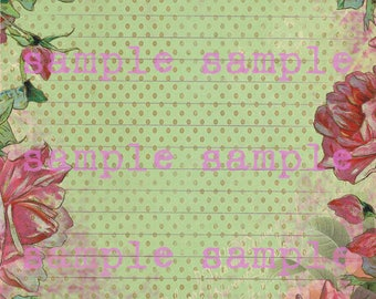 SALE Journaling Page no6 - Instant DIGITAL download  Shabby Chic Floral Printable Journal Page Pen and Ink Digital Stationery  Lined Paper