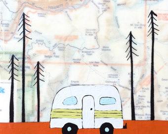 Yosemite / 5 x 5 Map Painting / California Art / Wanderlust / Map Art / Happy Camper / Camping Art / Rachel Austin Art / Modern Nursery