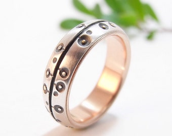 Womens Wedding Band Womens Ring Silver Wedding Band Rose Gold Wedding Band Womens Wedding Ring Silver Ring Poppies Poppy Floral Ring