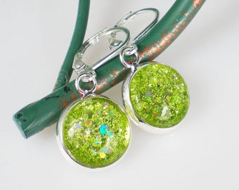 Lime Green Glitter Nail Polish Earrings Jewelry Nail Polish Jewelry