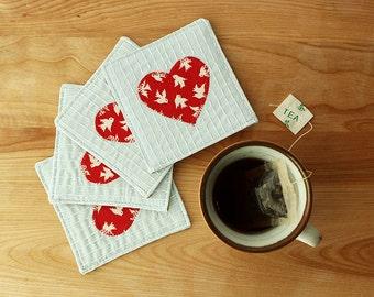 Love is in the Air Coaster Set - Heart, Valentine, Tea, Coffee, Sashiko, Embroidery