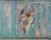 Antique Quilt Heart, Primitive Heart, Rustic Heart Ornament, Farmhouse Decor, Americana Decor, Valentine, Blue White, READY TO SHIP