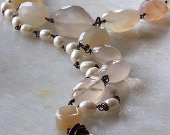 Chunky Statement Necklace with Rose Quartz Stones and Pearls