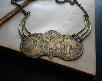 sisters of mercy - vintage hammered religious choker with st christopher crucifix and virgin mary - found object occult jewelry