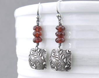 Garnet Earrings Red Earrings Sterling Silver Handmade Earrings Small Silver Earrings Birthstone Jewelry Handmade Jewelry - Tracey