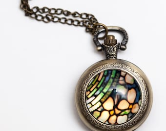 Stained Glass Pocket Watch, Wearable Art, Steampunk Pocket Watch Necklace