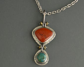 Red Jasper Pendant, Turquoise necklace, sterling silver, artisan necklace, mixed metal