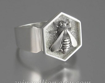HONEY BEE mens sterling silver unisex ring