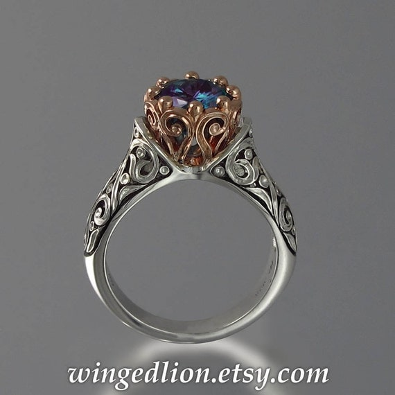 The ENCHANTED PRINCESS 14K gold and silver Alexandrite engagement ring