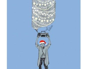 "Festive Lloyd ... Large 5x7"" art giclee print card • Christmas • holiday • santa hat • humor • movie • music • twinkly lights • say anything"