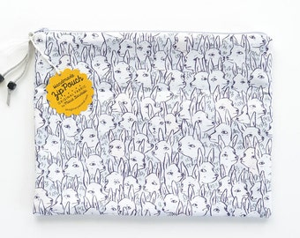 Deer Garden Large Flat Fold-Over Zipper Pouch Clutch | Original Fabric Design | Grey/Neutral