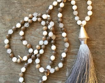 Hand Knotted White Opal Gemstone and Wood Beaded Tassel Necklace