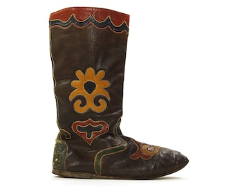 RARE Antique Tatar Tribal Boots / Traditional Kazakhstan / Uzbek / Russian / Handmade Leather Mosaic Applique Folk Ichigo Boots / Women's 7