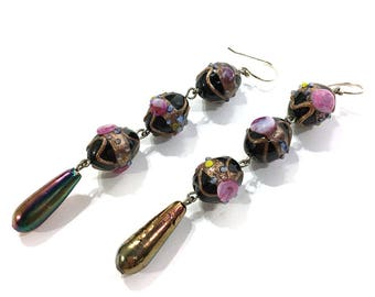 Murano Wedding Cake Glass Dangle Earrings / Vintage Italian LONG Lampwork Venetian Art Glass Earrings for Pierced Ears / Handmade OOAK