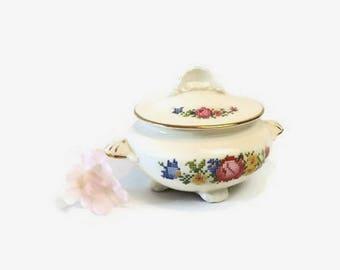 Vintage Covered Sugar Bowl, Cunningham & Pickett Heirloom, HLC Nautilus China, Petit Point Flowers
