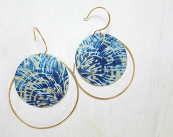 Large Round Brass Hoop Earrings, Blue and Gold Earrings, Japanese Chiyogami Paper Decoupage, Statement Earrings, Art Jewelry by Durango Rose