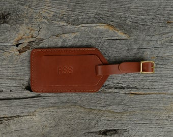 Whiskey Leather Luggage Tag with Free Monogram - Personalized Travel Gift for Man Boyfriend Husband Brother Dad Grad