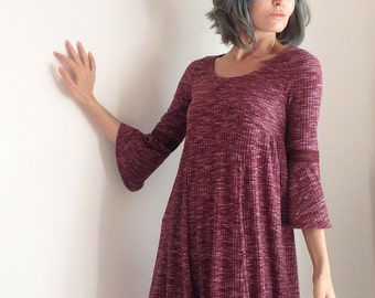 Burgundy Belle sleeve Fall Tunic Dress Spicy Toast stretchy babydoll