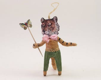 Vintage Inspired Spun Cotton Gentle Tiger Man Figure/Ornament