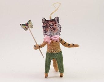 Vintage Inspired Spun Cotton Gentle Tiger Man Figure/Ornament