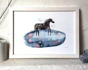 "Dark Horse - archival fine art print - A4 (21x29,7cm/8x11,7"") // Linocut, Watercolor, Illustration, Poster, Wallart, Horse Art"