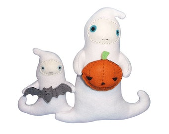 cute ghost pdf sewing tutorial halloween decorations fabric and felt craft patterns